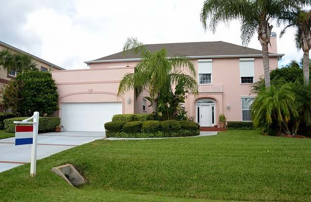 růžový domek, cedulka, palmy
